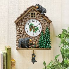 Hand Painted Bear Cabin Analog Pendulum Wall Clock | Collections Etc.