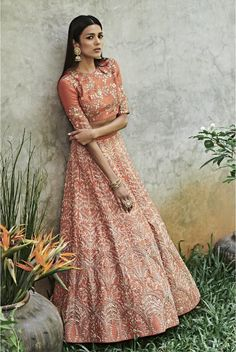 Then you are going to love the latest Jayanti Reddy Summer Lehengas. Beautiful scallop dupatta, fit & flare lehenga skirt + more. Indian Skirt, Indian Dresses, Indian Outfits, Indian Clothes, Indian Attire, Indian Wear, Wedding Dresses For Girls, Girls Dresses, Jayanti Reddy