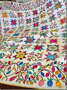 Stars & Sprigs - Kim Mclean pattern using Kaffe fabrics.So light and airy for a Kaffe. Star Quilts, Scrappy Quilts, Quilt Blocks, Quilting Projects, Quilting Designs, Quilt Design, Cute Quilts, Colorful Quilts, Quilt Border