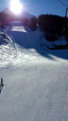 Early morning skiing, Pila, Italy.