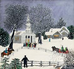 """This beautiful painting, """"We Are Coming To Church,"""" is by Grandma Moses (1860-1961.) Without any formal training, this remarkable woman started painting when she was in her seventies. She went on to create over 1000 works of art! She once said: """"Life is what we make it, always has been, always will be."""" May Grandma Moses inspire us to appreciate every moment of every day."""