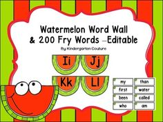 These Word Wall Letters are right on the slice of watermelon.  They will look awesome in your watermelon theme classroom!  ( I will be posting my other watermelon classroom products soon.  I just couldn't wait to post this.)  The Fry words have a whole watermelon right in the corner of the word.