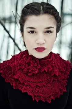 Beautiful red knitted scarf by mandy