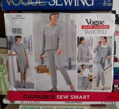 1997 Vogue Career Wardrobe, Tamotsu #1916-Misses' Loose-Fitting, Above Hip Jacket-A-Line Dress w Collar-Lined Skirt-Tapered Pants-UNCUT by PaperDiversities on Etsy