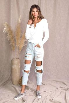 """White Thermal Henley Top Soft Waffle Thermal Four Button V Neck Long Sleeve 4"""" Cuff Pullover In Stock"""