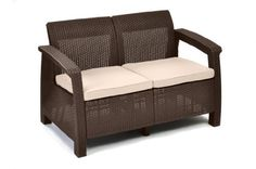 Keter Corfu Love Seat All Weather Outdoor Patio Garden Furniture w/ Cushions, Brown Keter's plastic outdoor furniture, including plastic chairs and tables, is Plastic Patio Furniture, Rattan Outdoor Furniture, Outdoor Loveseat, Garden Furniture Sets, Rattan Sofa, Outdoor Decor, Plastic Chairs, Outdoor Living, Sofa Chair