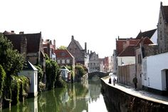 Along a canal in Bruges, Belgium