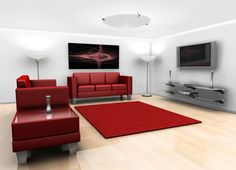 Pure White Living Room And Decorative Twin Torchiere Paired With Red  Leather Sofas Faced Glass Floating