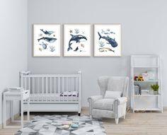 Ocean Animals Nursery Prints Set of 3 Sea Life Creatures image 1 Nautical Nursery Decor, Boys Bedroom Decor, Sea Theme, Nursery Prints, Creatures, Ocean, Animals, Animales, Animaux