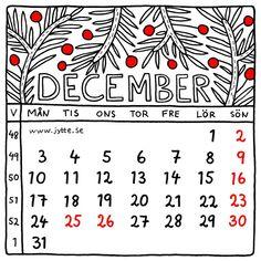December 2018. Square illustrated calender by Jytte Hviid on etsy.