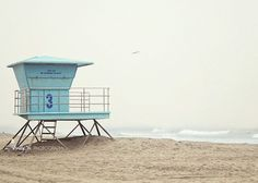 """""""HB Number 3""""- Great blue number 3 lifeguard stand on a foggy day at main beach…"""
