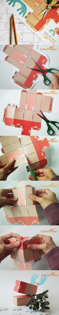 Making Rudolf , download, print, cutout and make. cutoutcritters.com Paper Crafts, Activities, How To Make, Tissue Paper Crafts, Paper Craft Work, Papercraft, Paper Art And Craft, Paper Crafting
