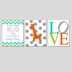 Baby Giraffe Love Nursery Art Trio - Set of Three 8x10 Prints - First We Had Each Other - Choose Your Colors on Etsy, $55.00