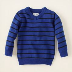 Striped v-neck sweater- Perfect attire for a #PampersPlayDate at the Zoo!