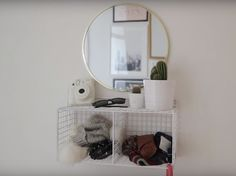 use a box grid to make a shelf for your entryway