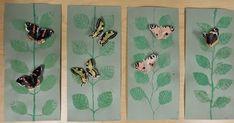 Tänään saatiin ensimmäiset perhostyöt valmiiksi ja nappasin niistä heti kuvan... Lehtien painanta toteutettiin pressprint-levystä tehd...
