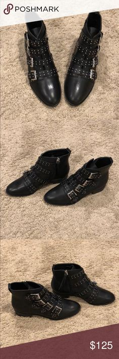 Rebecca Minkoff studded booties with buckles. Rebecca Minkoff black studded booties with buckles. Brand new, never worn (no box). Rebecca Minkoff Shoes Ankle Boots & Booties