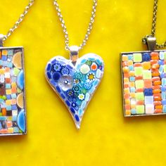 Mosaic Heart pendant Sterling silver plated 35 x by valnorthwoods