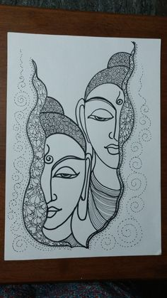 Doodle Art Drawing, Zentangle Drawings, Mandala Drawing, Watercolor Mandala, Buddha Art, Buddha Drawing, Buddha Painting, Art Drawings Sketches Simple, Pencil Art Drawings