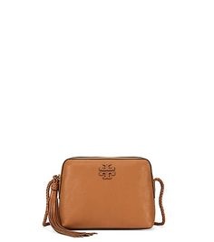 """Tory Burch Taylor Camera Bag $350 :: Tasseled and braided: Our Taylor Camera Bag is inspired by the classic photographer's style. Crafted from rich pebbled leather, with a woven cross-body strap and our signature logo, it's the picture of easy elegance — and great on the go.  H6.37"""" x L8.37"""" x D3.19"""""""