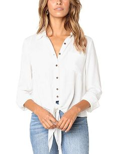 902a1eef3a7 Women Casual Blouse Tops Crushed Linen Button-Down Shirt Long Sleeve Tie  Knot Blouses Plus Size
