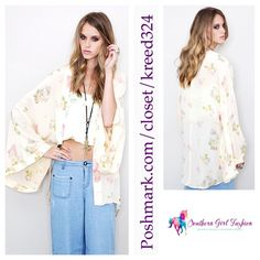 """FREE PEOPLE Kimono Printed ONE TEASPOON Floral Top Size US 4, Small. Perfect condition.  $368 Retail + Tax.    Stunning 100% silk kimono with floral print. By One Teaspoon for Free People  AU 8 = US 4 (Small).    Measurements for US 4: Length: 34""""  Across Back: 48""""     ❗️ Please - no trades, PP, holds, or Modeling.    Bundle 2+ items for a 20% discount!    Stop by my closet for even more items from this brand!  ✔️ Items are priced to sell, however reasonable offers will be considered when…"""