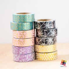 Washi Tape - Metallic Foiled Mixed Pattern by FasyShop on Etsy