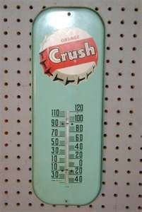 Large Metal thermometers with advertising on them White Tv, Aqua, Turquoise, Vintage Classics, Old Signs, Orange Crush, Advertising Signs, My Images, Childhood Memories