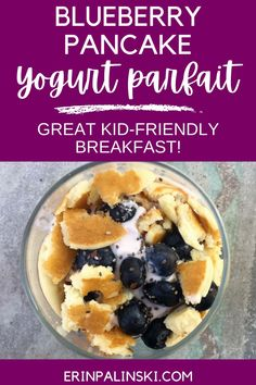 This blueberry pancake yogurt parfait is such a fun way to start your day! This kid friendly breakfast is a combination of their favorite - pancakes! - with a healthy yogurt parfait that includes blueberries and chia seeds. This is such an easy and delicious breakfast idea.