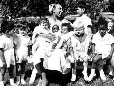 "Josephine Baker and her ""rainbow tribe"" of 12 adopted children from France, Morocco, Korea, Japan, Columbia, Finland, Israel, Algeria, Ivory coast and Venezuela."