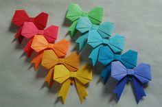 10 Handmade Origami Bows, Style 1, Variety Pack