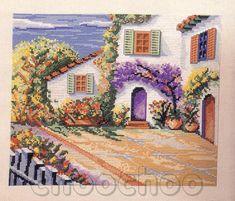 Schema punto croce Rincon Con Flores 01