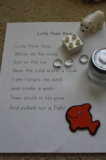 The Adventures of Bear: Arctic Unit Week 2 Classroom poem.. have students bring up to the front something that fits with the describing words