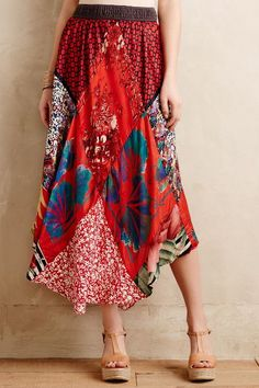 Vintage Scarf Skirt by Burning Torch on anthropologie.com Refashioning inspiration #vintage #refashion #T3