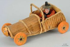 German witch touring in a car decorated with a composition JOL, car body made of thinly shaved wood | Morphy Auction, SOLD $1,265, OCT 10, 2009