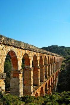 View of the roman aqueduct Pont del Diable, Tarragona, Catalonia