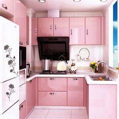 Der schnelle Weg zu einer rosa Küche: Rosa Küchenschrank-Aufkleber, Schrankfolie für Küchenschränke Möbel, Rosa, pink kitchen