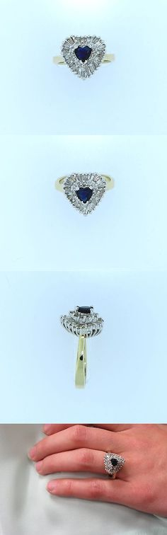 Rings 165044: 1Ct Diamond And 1/2Ct Heart Shape Sapphire Halo Cluster Cocktail Ring 14K Gold 585 BUY IT NOW ONLY: $985.0