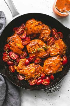 This healthy, easy 20 minute skillet Catalina chicken thighs and tomatoes is smothered in the tastiest, sweet and tangy Catalina sauce. Turkey Recipes, New Recipes, Dinner Recipes, Cooking Recipes, Favorite Recipes, Healthy Recipes, Delicious Recipes, Duck Recipes, Italian Recipes