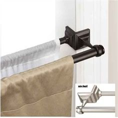 BRILLIANT!! Hang curtains via tension so you don't have to kill the woodwork!!!