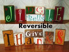 Distressed Reversible Thanksgiving and Christmas Reclaimed Barnwood Decorative Blocks on Etsy, $36.00