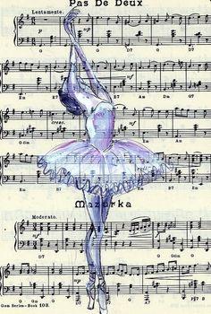 Fine art Ballet print on sheet music Dance Like No One Is Watching, Just Dance, Art Ballet, Ballet Music, Ballet Dancers, Ballet Shoes, Illustration Mode, Sheet Music, Piano Sheet