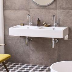 Double basin, at Fired Earth Loft Bathroom, Bathroom Basin, Minimal Bathroom, Fired Earth, Downstairs Toilet, Bath Tiles, Wall And Floor Tiles, Contemporary Bathrooms, Flooring