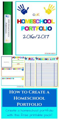 How to create a homeschool portfolio plus a free printable portfolio pack. Physical activity tracker, reading record, and more! homeschool portfolio |…
