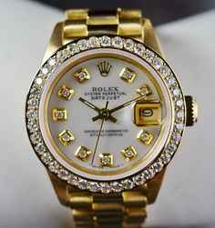 Go Grab This Luxury Watch for Less: $14,940 Retail Rolex 18K Gold 26MM Datejust President Watch Diamond Bezel & Dial 70.81 Grams