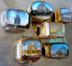 Souvenir victorian french casket boxes