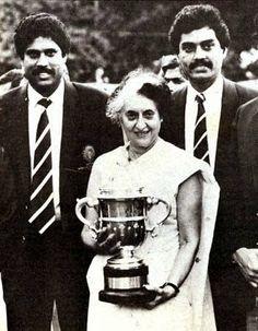 Kapil Dev, Vengsarkar and Indira Gandhi with Prudential World Cup 1983.