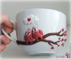 """Кружки и чашки ручной работы. Ярмарка Мастеров - ручная работа Чашка """"Влюбленные птички"""". Handmade."""