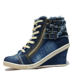 Denim lace up wedges sneakers