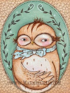 Owl art print Mr Owl's Ascot by MarmeeCraft on Etsy
